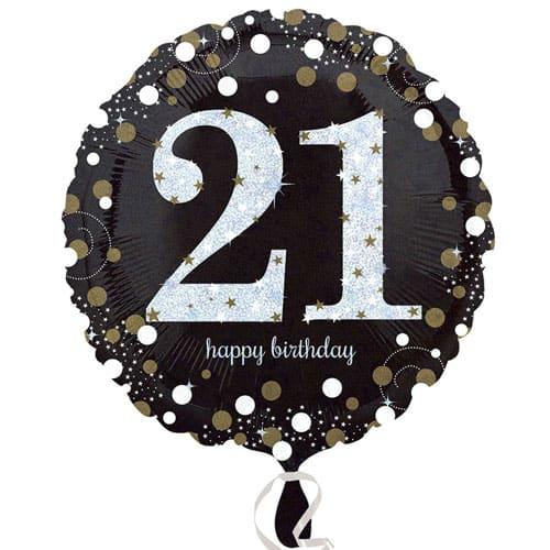 Gold Sparkling 21st Birthday Round Foil Helium Balloon 46cm / 18Inch