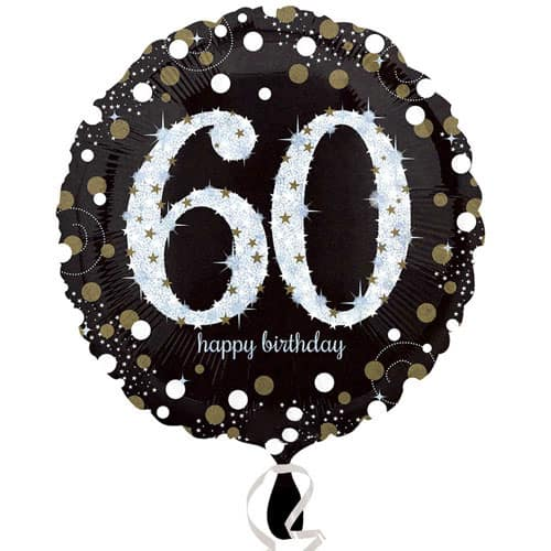 Gold Sparkling 60th Birthday Round Foil Helium Balloon 46cm / 18Inch Product Image