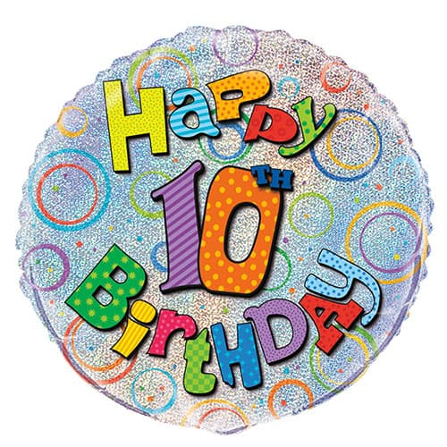 Happy 10th Birthday Holographic Round Foil Helium Balloon 46cm / 18Inch