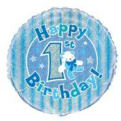Happy 1st Birthday Blue Holographic Round Foil Helium Balloon 46cm 18Inch