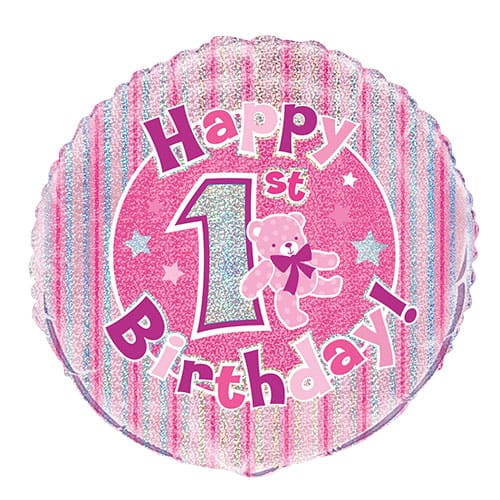 Happy 1st Birthday Pink Holographic Round Foil Balloon