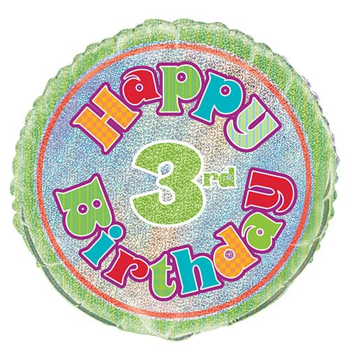 Happy 3rd Birthday Holographic Round Foil Helium Balloon 46cm / 18Inch