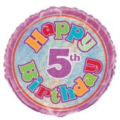 Happy 5th Birthday Holographic Round Foil Helium Balloon 46cm 18Inch