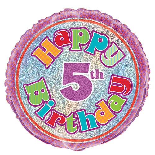 Happy 5th Birthday Holographic Round Foil Helium Balloon 46cm / 18Inch