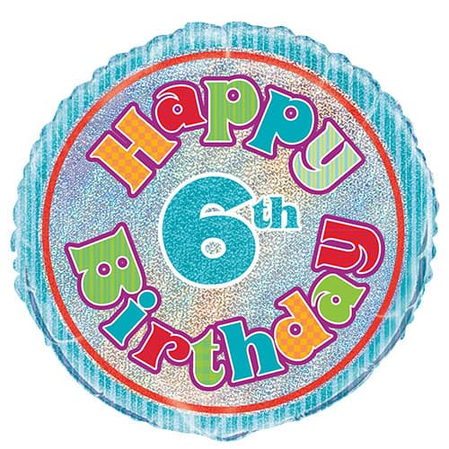 Happy 6th Birthday Holographic Round Foil Balloon 45cm