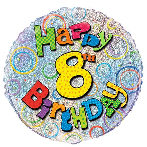 Happy 8th Birthday Holographic Round Foil Helium Balloon 46cm / 18Inch