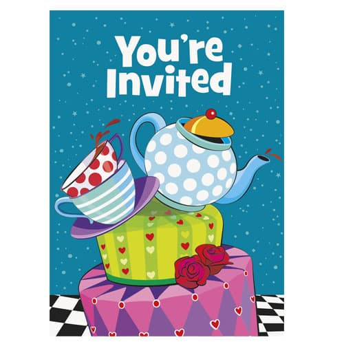 Mad Hatter Tea Party Invitations With Envelopes Pack Of 8 Partyrama