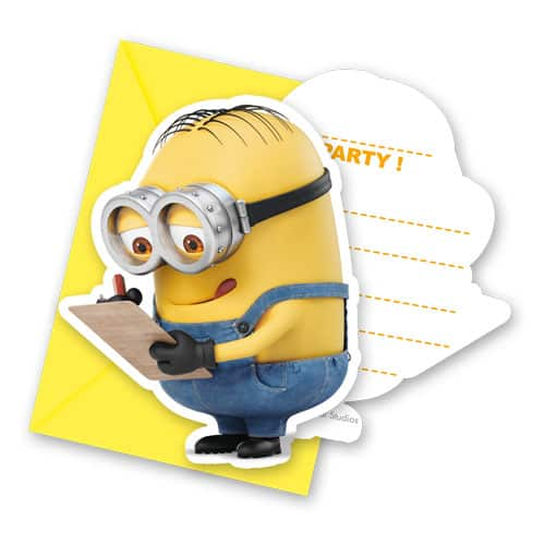 Minions Invitations With Envelopes - Pack of 6