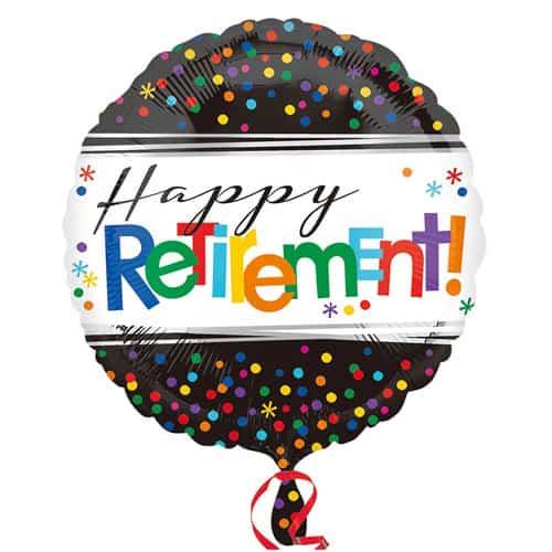 Happy Retirement Round Foil Helium Balloon 43cm / 17Inch