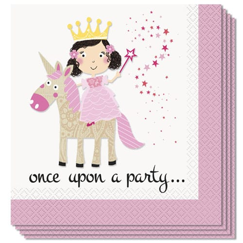 Princess and Unicorn Luncheon Napkins 33cm 2Ply Pack of 16