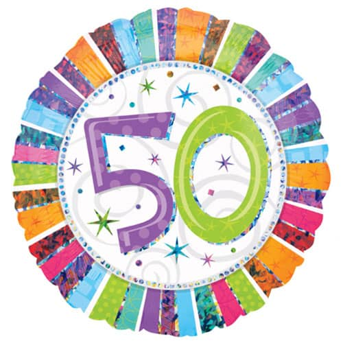 Radiant 50th Birthday Holographic Round Foil Helium Balloon 46cm 18Inch
