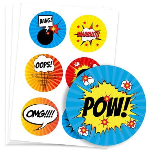 Super Hero 95mm Round Sticker Sheet of 6