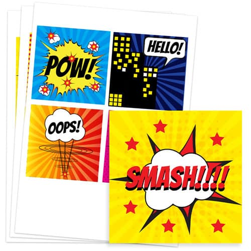 Super Hero 95mm Square Sticker Sheet of 4