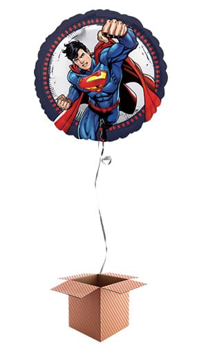 Superman Round Foil Balloon - Inflated Balloon in a Box