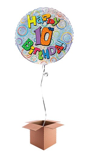 Happy 10th Birthday Holographic Round Foil Balloon - Inflated Balloon in a Box