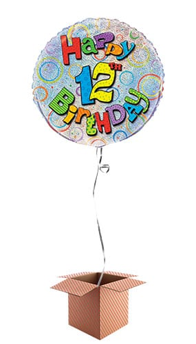 Happy 12th Birthday Holographic Round Foil Balloon - Inflated Balloon in a Box Product Image