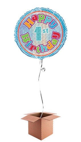 Happy 1st Birthday Holographic Round Foil Balloon Inflated In A Box