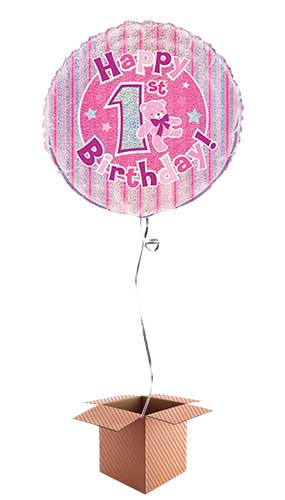 Happy 1st Birthday Pink Holographic Round Foil Balloon - Inflated Balloon in a Box