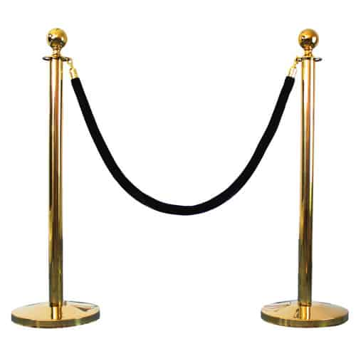 2 Prestige Brass Poles With 1 Black Velvet Rope Product Gallery Image