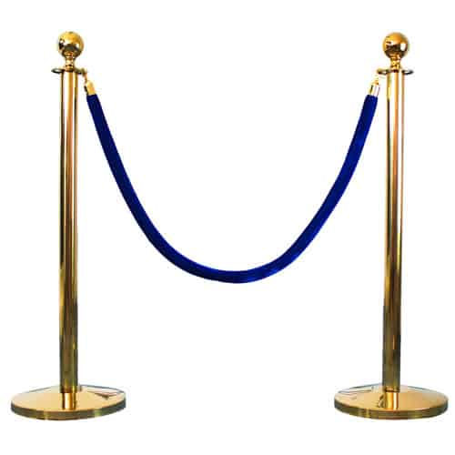 2 Prestige Brass Poles With 1 Blue Velvet Rope Product Gallery Image