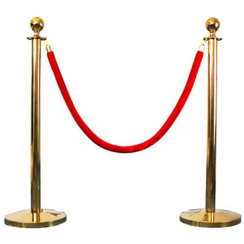 2 Prestige Brass Poles With 1 Red Velvet Rope Product Gallery Image