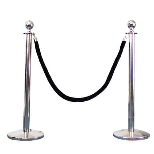 2 Prestige Chrome Poles With 1 Black Velvet Rope Product Gallery Image