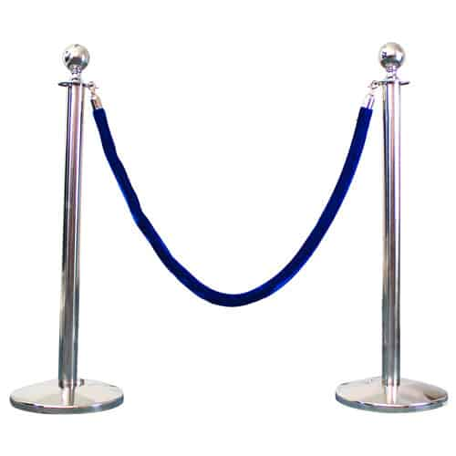 2 Prestige Chrome Poles With 1 Blue Velvet Rope Product Gallery Image