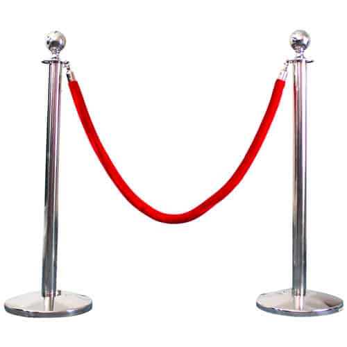 2 Prestige Chrome Poles With 1 Red Velvet Rope Product Gallery Image