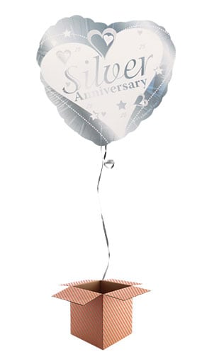 Silver 25th Anniversary Heart Shape Foil Balloon - Inflated Balloon in a Box