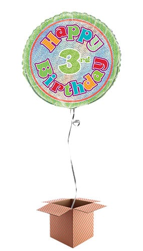Happy 3rd Birthday Holographic Round Foil Balloon - Inflated Balloon in a Box