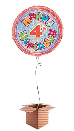 Happy 4th Birthday Holographic Round Foil Balloon - Inflated Balloon in a Box Product Image