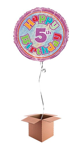 Happy 5th Birthday Holographic Round Foil Balloon - Inflated Balloon in a Box