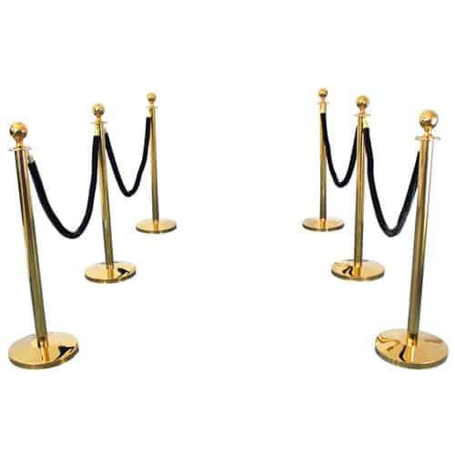 6 Prestige Brass Poles With 4 Black Velvet Ropes