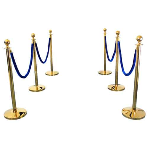 6 Prestige Brass Poles With 4 Blue Velvet Ropes Product Gallery Image