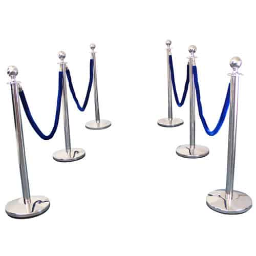 6 Prestige Chrome Poles With 4 Blue Velvet Ropes Product Gallery Image