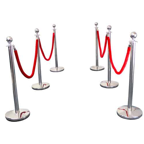 6 Prestige Chrome Poles With 4 Red Velvet Ropes Product Gallery Image