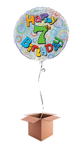 Happy 7th Birthday Holographic Round Foil Balloon - Inflated Balloon in a Box