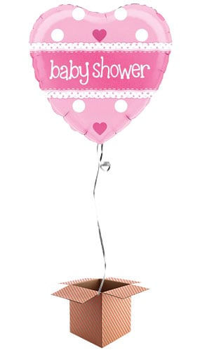 Baby Shower Pink Heart Shape Foil Balloon - Inflated Balloon in a Box