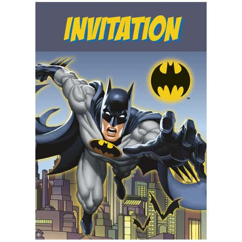 Batman Party Invitations with Envelopes - Pack of 8