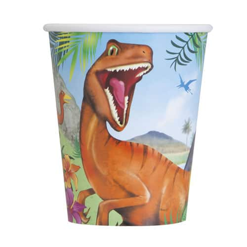 Dinosaur Fun Paper Cups 250ml - Pack of 8