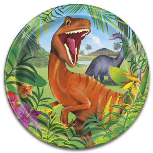 Dinosaur Fun Round Paper Plates 22cm - Pack of 8