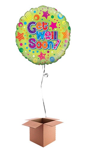 Get Well Soon Holographic Round Foil Balloon - Inflated Balloon in a Box