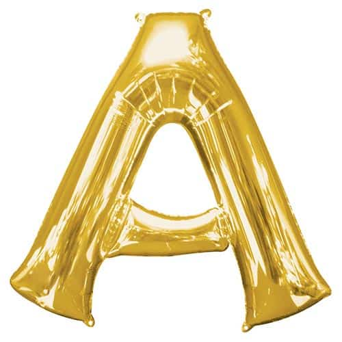 Gold Letter A Supershape Foil Helium Balloon 86cm / 34Inch Product Gallery Image