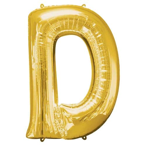 Gold Letter D Supershape Foil Helium Balloon 83cm / 33Inch Product Gallery Image