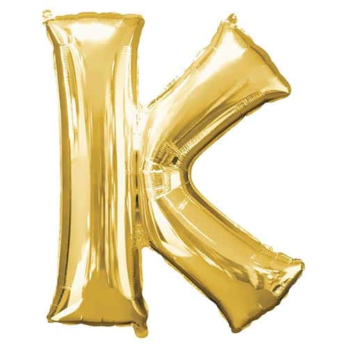 Gold Letter K Helium Foil Giant Balloon 83cm / 33 in Product Gallery Image