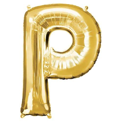 Gold Letter P Supershape Foil Helium Balloon 81cm / 32Inch Product Gallery Image