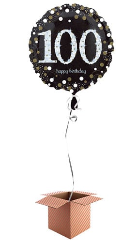Gold Sparkling 100th Birthday Round Foil Balloon - Inflated Balloon in a Box