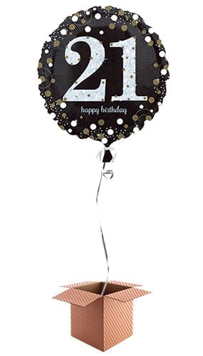 Gold Sparkling 21st Birthday Round Foil Balloon - Inflated Balloon in a Box