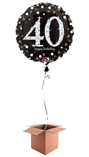 Gold Sparkling 40th Birthday Round Foil Balloon - Inflated Balloon in a Box