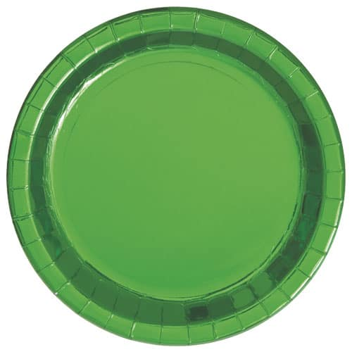 Green Foil Round Paper Plates 22cm - Pack of 8